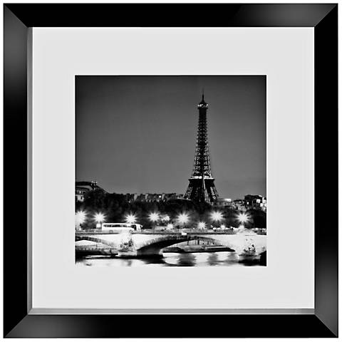 """Eiffel Tower and Seine 14"""" Square Floating Glass Wall Art"""