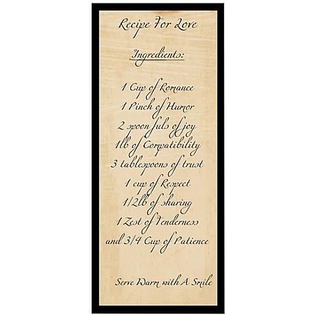 """Recipe For Love 20 1/2"""" High Framed Giclee Wall Art"""