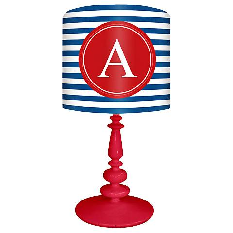 "Blue And Red ""A"" Striped Monogram Kids Table Lamp"