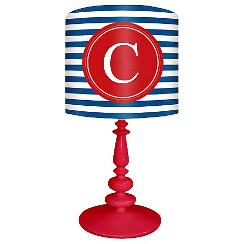 """Blue And Red """"C"""" Striped Monogram Kids Table Lamp"""