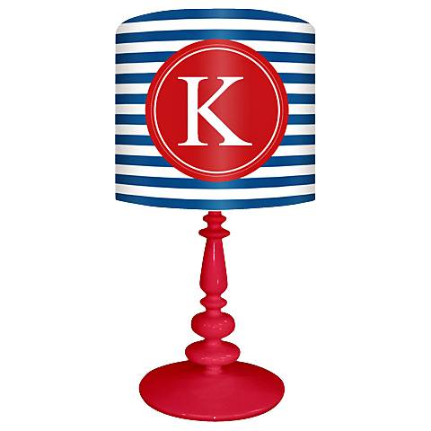 """Blue And Red """"K"""" Striped Monogram Kids Table Lamp"""
