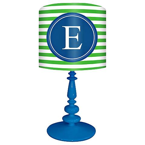 "Blue And Green ""E"" Striped Monogram Kids Table Lamp"