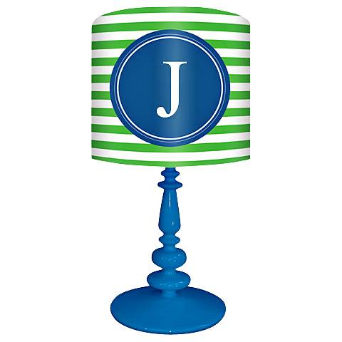 """Blue And Green """"J"""" Striped Monogram Kids Table Lamp"""