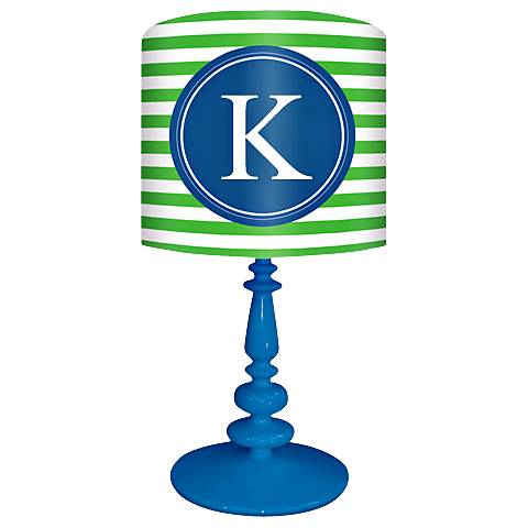 "Blue And Green ""K"" Striped Monogram Kids Table Lamp"