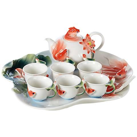 Goldfish 8-Piece Fine Bone Porcelain Tea Set