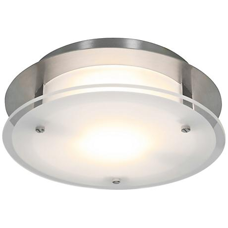 """Access Vision Round 12"""" Wide Brushed Steel Ceiling Light"""