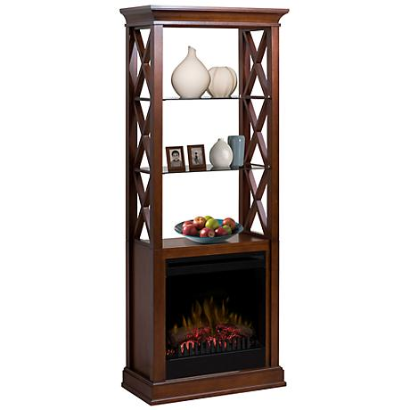 Seabert Walnut Etagere Electric Fireplace