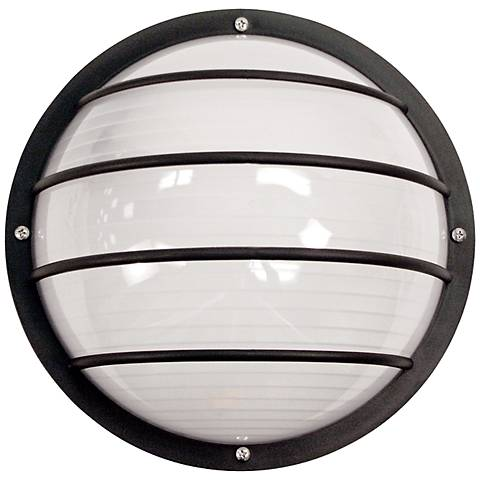 Wave nautical round black outdoor ceiling or wall light 3d459 lamps plus for Round exterior lights