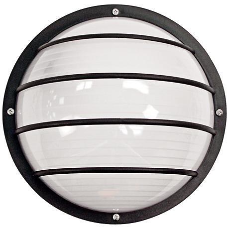 Wave Nautical LED Round Black Outdoor Ceiling or Wall Light