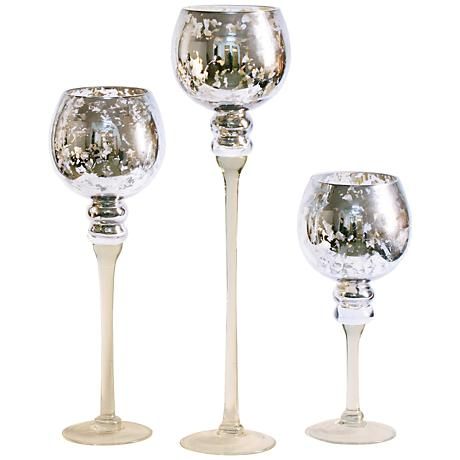 Romeo Mercury Glass 3-Piece Votive Candle Holder Set