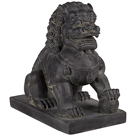 """Left Foot Chinese Dog 13 1/2"""" High Outdoor Statue"""