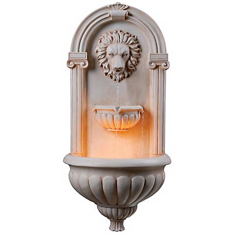 "Regal Lion 35"" High Lighted Wall Fountain"