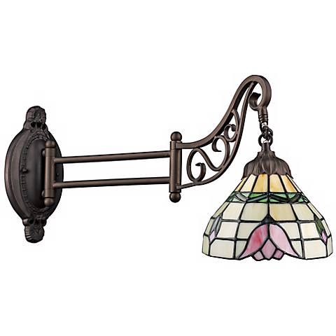 Rose Bronze Tiffany Style Swing Arm Wall Lamp