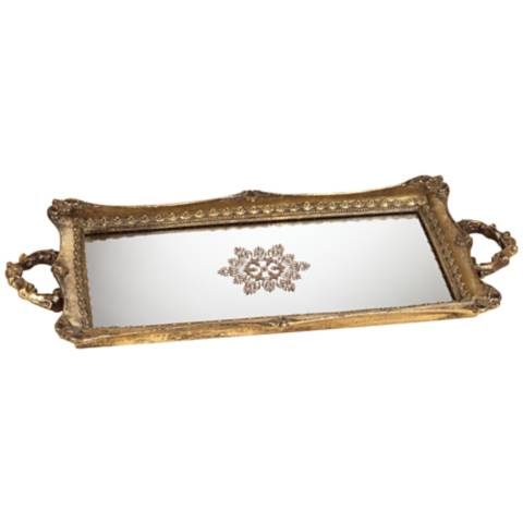 Randa Antique Gold Mirrored Tray 3f633 Lamps Plus