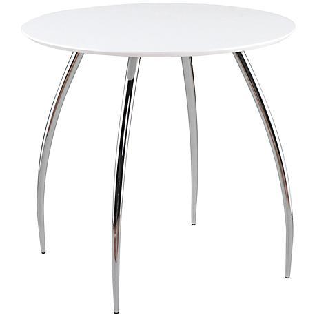 Daria White and Chrome Bistro Table