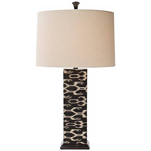 Natural Light Ikat Square Woven Abaca Table Lamp