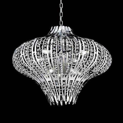 "Eurofase Monica 27""W Chrome Clear Crystal 9-Light Chandelier"