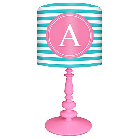 """Oopsy Daisy """"A"""" Striped Monogram Kids Table Lamp"""