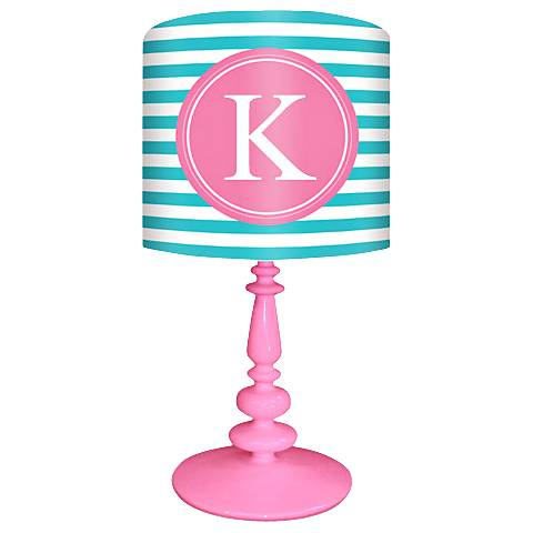 "Oopsy Daisy ""K"" Striped Monogram Kids Table Lamp"