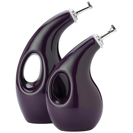 Rachael Ray Stoneware Purple Set of 2 EVOO Vinegar Cruets