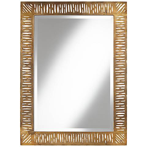 "Valongo Antique Gold 40 3/4"" High Metal Wall Mirror"