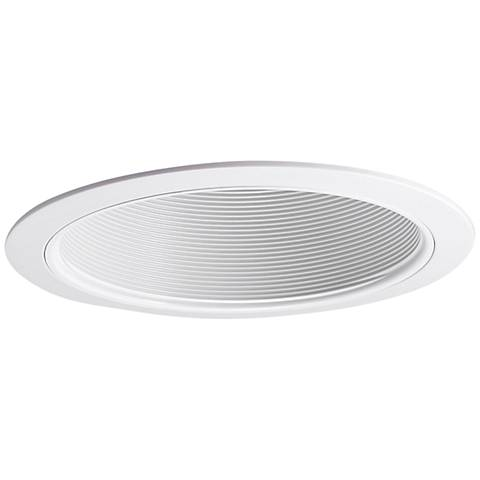 Nora 75-Watt White Phenolic Stepped Baffle Recessed Trim