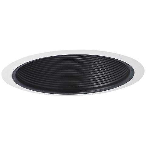 "Nora 7"" Wide Black and White Stepped Recessed Lighting Trim"