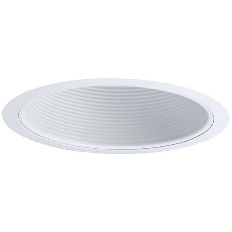 "Nora 6"" Wide White Stepped Baffle Recessed Lighting Trim"
