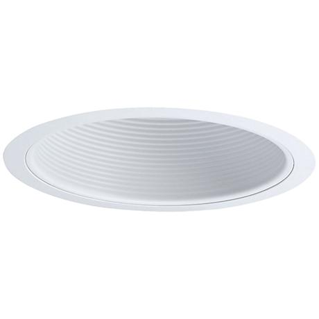"""Nora 6"""" Wide White Stepped Baffle Recessed Lighting Trim"""