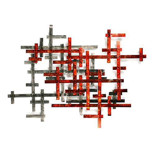 """Aesthetic Redo 45"""" Wide Contemporary Metal Wall Art"""