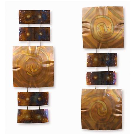 """Set of 2 Copper Pillow 32"""" High Modern Metal Wall Art"""