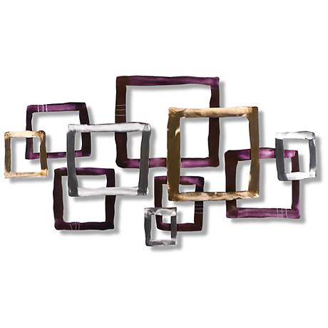 """Crossing Over 50"""" Wide Contemporary Metal Wall Art"""