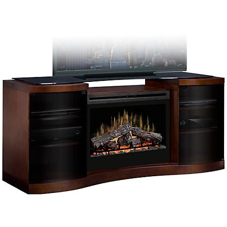 Acton Walnut Electric Fireplace Media Console
