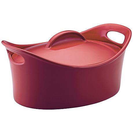 Rachael Ray Stoneware Casseroval 4.25-Qt Red Baking Dish