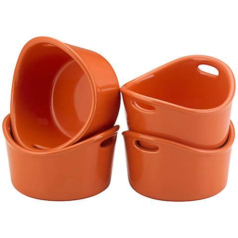 Rachael Ray Bubble and Brown 4-Piece Orange Ramekin Set