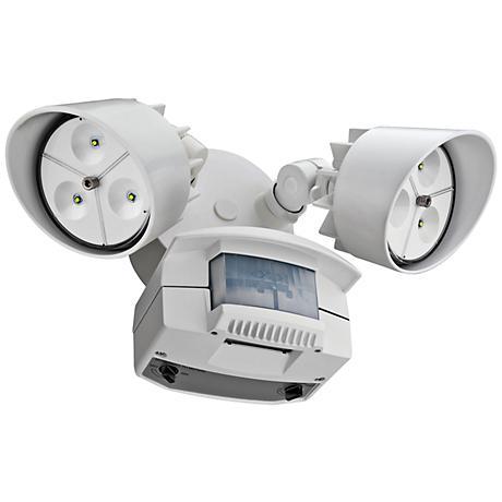 """White Two-Light 7 1/4"""" High Motion Sensor LED Floodlight"""