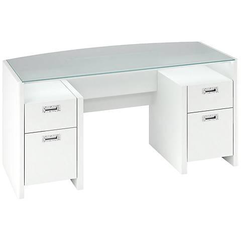 Kathy Ireland New York Skyline Plumeria White Desk