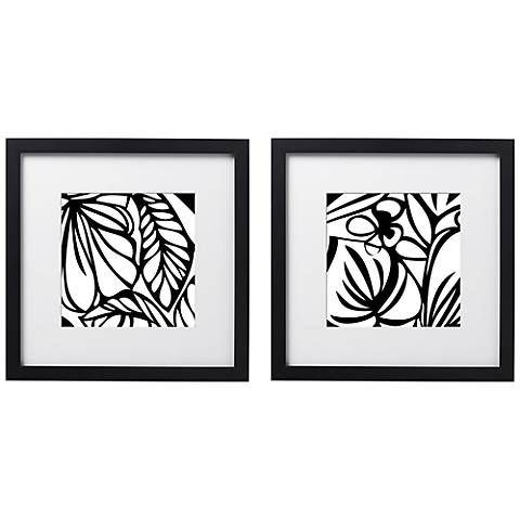 "Leafy Silhouette 14"" Square Wall Art Set of 2"