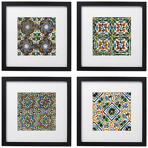 "Taza Tiles 4-Piece Print Set in 14"" Square Black Wood Frames"