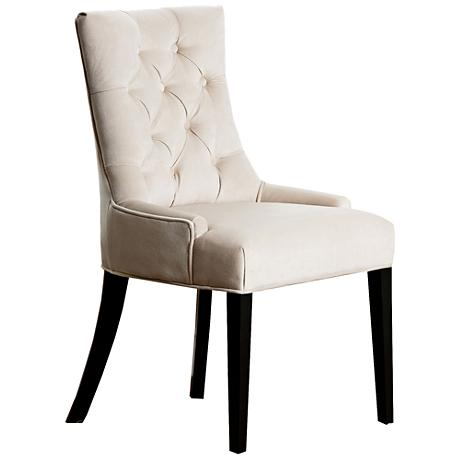 Gracia Cream Microsuede Tufted Dining Chair