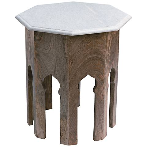 Atlas White Marble Top Jamie Young End Table