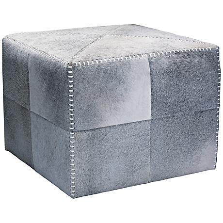 Jamie Young Large Square Gray Hide Leather Ottoman
