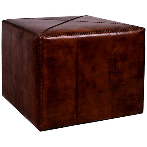 Jamie Young Large Square Tobacco Leather Ottoman