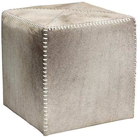 Jamie Young Small Square Gray Hide Leather Ottoman