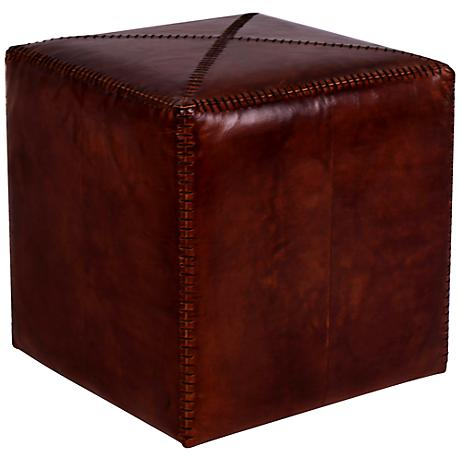 Jamie Young Small Square Tobacco Leather Ottoman