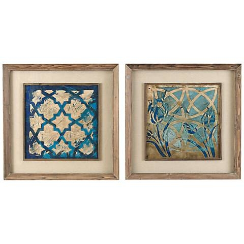 "Set Of 2 Uttermost 31"" Square Stained Glass Wall Art"