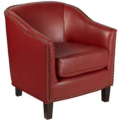 Burke Scarlet and Brass Nailhead Club Chair