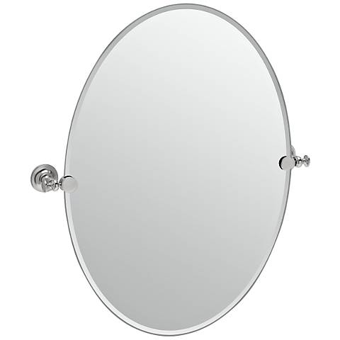 "Gatco Tavern Satin Nickel Oval 24"" x 26 1/2"" Wall Mirror"
