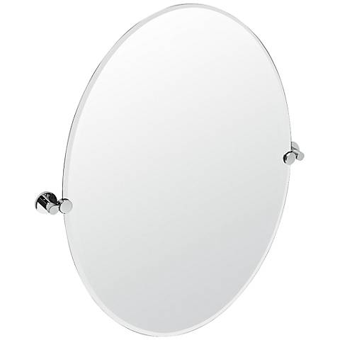 "Gatco Channel Large Chrome Oval 28 1/2"" x 32"" Wall Mirror"