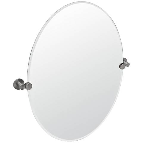 "Gatco Channel Satin Nickel Oval 24"" x 26 1/2"" Wall Mirror"